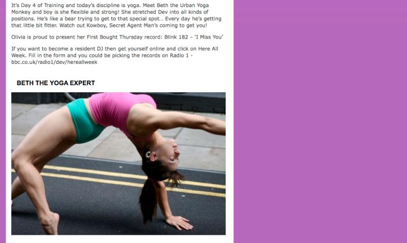 Beth Urban Yoga Monkey on BBC Radio 1